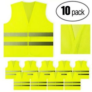 Yellow Reflective Safety Vest 10 Pack Bright Neon Mesh Reflective Construction