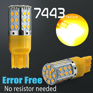 7443 Led Error Free Canbus Front Turn Signal Parking Light Bulbs Amber Yellow