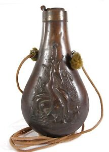 1850s BLACK POWDER BRASS PICTORIAL  FIGURAL POWDER FLASK WITH HANGING GAME