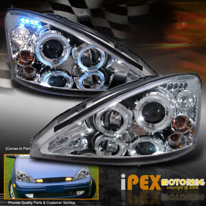 For Ford 2000 2004 Focus Dual Halo Projector Led Headlights Chrome Headlamps