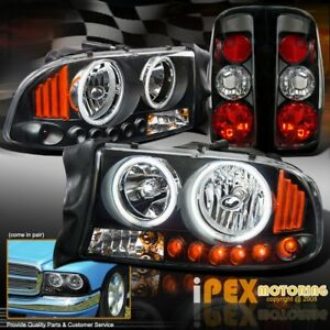 1997 2004 Dodge Dakota Led Signals Ccfl Halo Black Headlights W Tail Lights