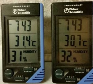 Fisher Scientific Traceable Humidity Thermometer clock Lot Of 2