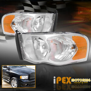 New For 2002 2005 Dodge Ram 1500 2500 3500 Chrome Factory Style Headlights