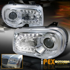 2005 2010 Chrysler 300c Bright Led Driving Lights Projector Headlights Chrome