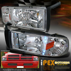 Bright Led Lights 1994 2001 Dodge Ram 1500 2500 3500 Chrome Signal Head Light