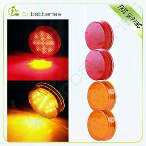 2red 2amber 2 5 Round Shape Side Marker 13led Trailer Truck Clearance Light