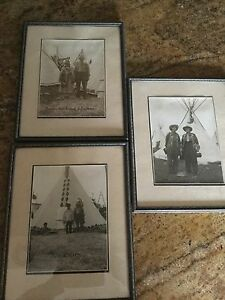 1930 S Black White Native Indian Photos Wild West Rodeo Show Originals Framed