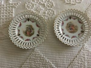 Pair Of Vintage Reticulated Germany Portrait Plates