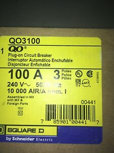 New Square D Qo3100 3 Pole 100 Amp Circuit Breaker Qo Plug In Fits Nqod