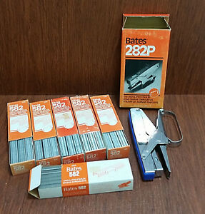 Vtg Bates 282p Plier Stapler Blue Chrome With 6x 582 Undulated Refills Nos Lot