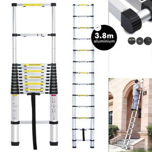 3 8m Single Side Extension 12 step Aluminum Folding Ladder Telescopic Load 150kg