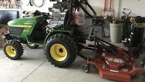 John Deere 4110 Tractor With Finish Mower In Excellent Condition