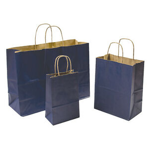 Mixed Pack 3 Sizes Navy Blue Paper Retail Gift Rope Handle Tote Shopping Bags