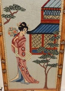 Chinese Girls At A Temple Embroidery Tapestry Painting