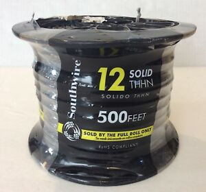 Southwire 500ft Thhn Or Thwn 12 Black Solid Copper Electrical Wire E23919 New