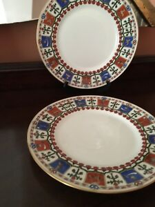 Pair Antique 19c Russian Porcelain Plates By Kornilov Factory Made For Tiffany