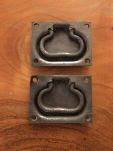 Set Of 2 Steel Trunk Handles Flush Drawer Pulls Drop Bail Industrial Antique Lot