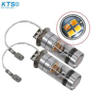 2x H3 100w High Power 2835 20smd Led Amber Yellow Fog Driving Drl Light Bulbs