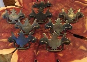 Set Of 7 1 For Parts 1800s Pressed Stamped Brass Chippendale Drawer Pulls Lot
