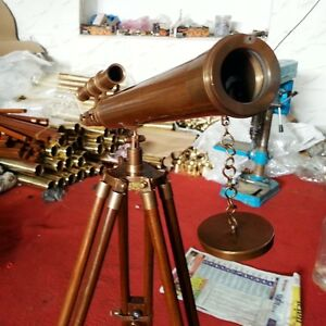 Antique Vintage Brass Telescope 18 W Wooden Tripod Us Navy Marine Collectible