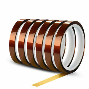 Techtong 6rolls 10mm X 30m 100ft High Temperature Heat Resistant Polyimide Tape