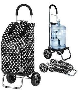 Black Polka Dot Shopping Grocery Foldable Cart