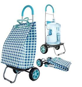 Basket Weave Tote Blue Shopping Grocery Foldable Cart Picnic Beach