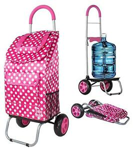 Pink Polka Dot Shopping Grocery Foldable Cart