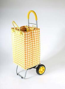 Basket Weave Tote Yellow Shopping Grocery Foldable Cart Picnic Beach