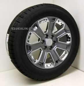 Chevy Silverado Tahoe Surburban 20 Gunmetal W Chrome Wheels Rim Goodyear Tires