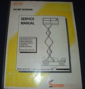 Simon 2515rt Scissor Lift Man Lift Service Shop Repair Workshop Manual