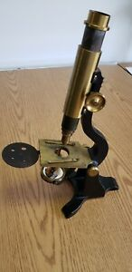 Antique Microscope With Original Case And Ascessories