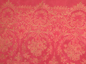 C1800s Antique Throw Table Coverlet Stitched Woven Red Tan
