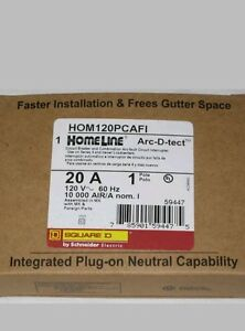 10 20 Amp Square D Homeline Combination Arc Fault Breaker With Plug On Neutral