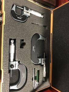 Mitutoyo Digit Counter Outside Micrometer Set With Case 193 923 M820 3 St