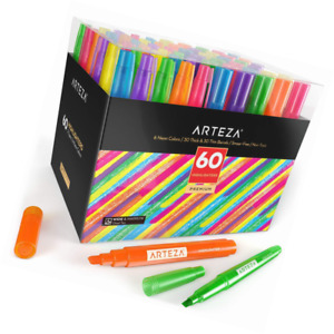 Arteza Highlighters Set Of 60 Bulk Pack Of Colored Markers Wide And Narrow Chi