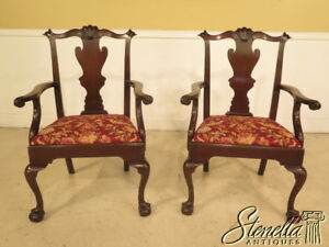 25064e Pair Of Henkel Harris Chippendale Style Mahogany Arm Chairs Claw Feet
