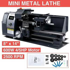 8x14 Mini Metal Lathe Metalworking Woodworking Metal Gears Bench 600w Digital