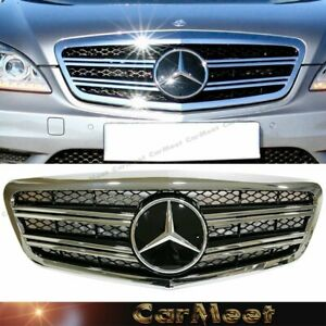 For Benz 10 13 W221 S Sedan C D Look Front Frame Grille Chrome Gloss Black Color