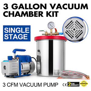 3cfm Vacuum Pump 3 Gallon Vacuum Chamber Stainless Steel 1720rpm 220ml