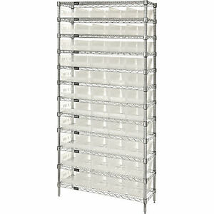Quantum Wire Shelving Sys W 55 Clear Bins 12 shelf Unit 36inwx12indx74inh