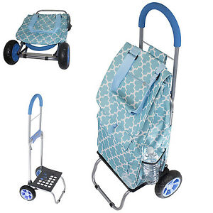 Rolling Shopping Bag Grocery Trolley Laundry Foldable Cart Tote Basket Wheels