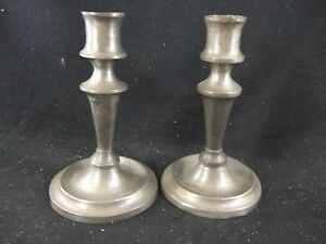 Pair Of Antique Early 19th Century American Pewter Candlesticks