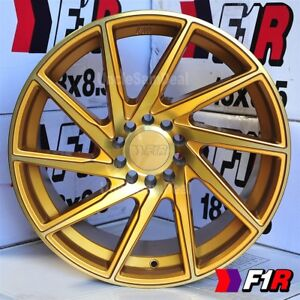 17 17x8 5 38 5x100 114 3 F1r F29 Machine Gold 10 Spoke Blade Tuner Wheel Set 4