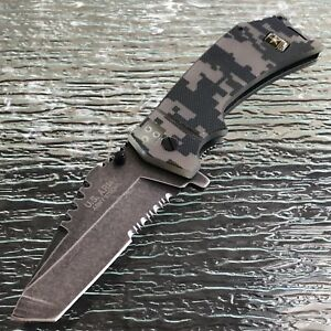 US OFFICIAL ARMY ASSISTED OPEN TACTICAL DIGITAL CAMO TANTO FOLDING POCKET KNIFE