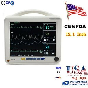 Usa Big 12 1 Patient Monitor Nibp Spo2 Ecg Temp Resp Pr 6 Parameters Medical