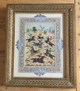 Old Vintage Miniature Hunting Scene Persian Mughal Painting On Plate Framed