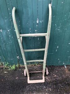 Antique Wood Cast Iron Industrial Factory Farm Hand Truck Dolly Cart Vintage
