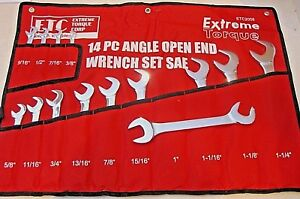 Sae Angle Wrench Set 14 Pc Extreme Torque Etc Open End 4 Way Line Crv
