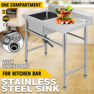 39 5 x24 Stainless Handmade Sink Right Drain Board Square Budget Wash Table